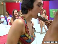 Dark-skinned stripper offered each female to taste his chocolate candy with whipped cream