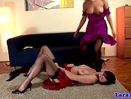 Short-haired young and mature British lesbians in black stockings were engulfed in pleasure licking pussies in the 69 position 4