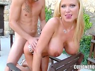 Blonde Sharon Pink did not regret that she came to the young guy in the country house