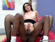 Impudent black-skinned lover uses his long pecker to please sexual wishes of his brave white mistress