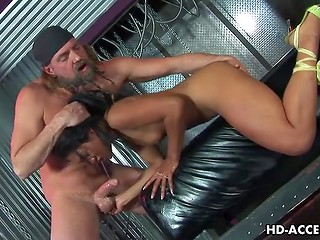 Skinny Asian whore roughly bumped in her tight throat by bearded man
