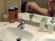 Beautiful brunette organized crazy sex action in the bathroom for her passionate cameraman 10
