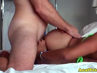 Horny fellow passionately twirls the asshole of Latina sweetie on his hard skewer