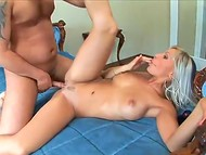 Skin-headed fellow with thin penis fucked luscious blonde on the luxurious bed