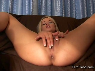 Playful blonde gets tons of pleasure masturbating her snatch with some sex toys