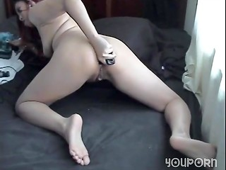 Asian solo girl spreads her legs and masturbates butthole