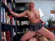Foxy librarian in stockings explores different sex position that are practiced in different countries