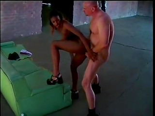 Pretty ebony girl gets picked up and nailed by white old man