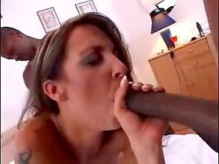 White MILF gets boned by three ebony guys