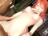 Redhead babe with ponytails gets her little pussy screwed and spunked 9