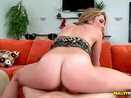 Kissable blonde Lacey Lew skillfully rides partner's cock and spreads her long slender legs