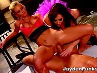 Wild cougar Jayden Jaymes and her busty girlfriend having fun with dude's member and anal plugs