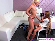 Horny agent used her fingers in order to relax ardent teen that came to the casting
