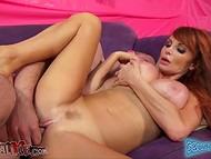Two lucky dudes one by one were pleased by experienced redhead named Taylor Wane 9