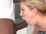 Ebony masseur with colossal penis took care of Cherie Deville's starving vagina 8