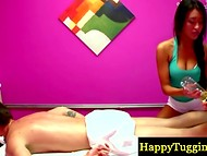 Asian enchantress with long hair gave an erotic massage to the customer