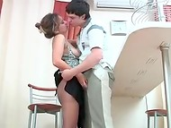 MILF in pantyhose enticing stepson's buddy 4