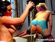 Shameless lesbians in stockings spent time with a lot of passion in a small bathtub