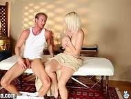 Young blonde, fucked by handsome masseur, did't fully realized, what just happened