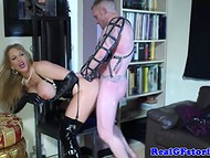Smoking-hot blonde and athletic guy prefer passionate sex games in leather suits