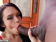 Adventurous bella Ryon Cherry in red panties used her mouth to appease a large shaft