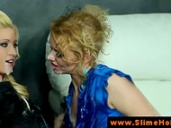 Luxurious lesbians going naughty without a break with the rubber cock through the gloryhole