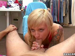 Petite seamstress has oral sex with her rich client in the fitting room