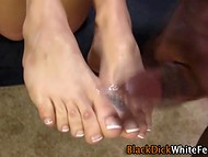 Aggressive white peach used her gentle feet to stimulate giant black instrument 11