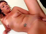 Busty bitch plays with powerful vibrator and gets the strong cock between her legs