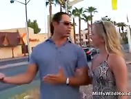 Long-haired Tarzan met a girlfriend on the street and invited her in the motel to get blowjob