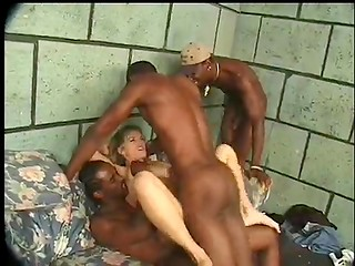 Black gangbang with horny MILF chick