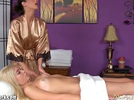 Sweet cover girl agreed for the full package of massage services that are provided by splendid brunette