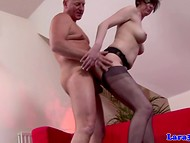 Old man with huge dick fucked long-legged brunette in stockings and yellow shoes