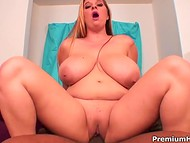 Full-figured blonde almost didn't feel the penetrations of black dick in her pussy
