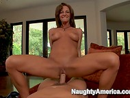 Young dick turns that hot slutty MILF on and she rides it on the camera