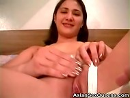 Asian beauty Aspen warmed up with the help of vibrator and got fucked a little bit later