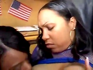 Ebony lesbians making orgy and licking each other in office