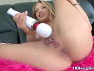 Winsome dolly bird likes, when her love cave is caressed by tongue and vibrator