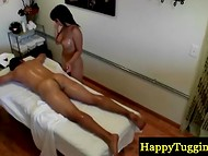 Petite brunette masseuse gets naked and caresses client with her body on the hidden camera