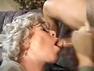Grey-haired granny came back from the market and caught young boy masturbating 11
