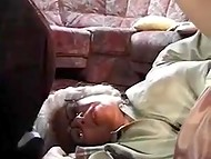 Grey-haired granny came back from the market and caught young boy masturbating 8
