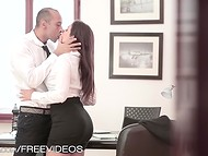 Swanky secretary was cocked up by her impatient chief right in the office 5