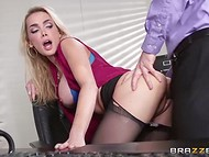 Hardworking blonde is ready to give a potential boss in the office to get the job done