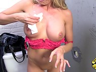 After relaxing in the restroom with the pecker sticking from the wall playful Sindy Lange went back home 10