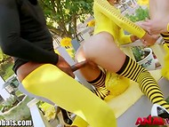 Anus of a cute bee turns itself inside out during the hardcore games with giant dildo and black monster-cock 8
