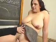 Fat teacher and no less chubby student remain alone in the classroom for a lesbian lesson