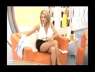 Greek celebrity Elena Papavasileiou has astonishing long legs and she loves wearing short skirts