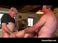 Dark-haired French honey with slender body pleasured two dissolute old men 5