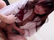 Cute inexperienced Japanese got her tight crack filled with hot semen 9