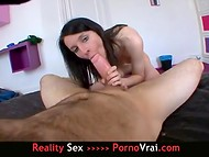 Skinny dark-haired French girl was fucked by a hairy partner in the cozy room 8